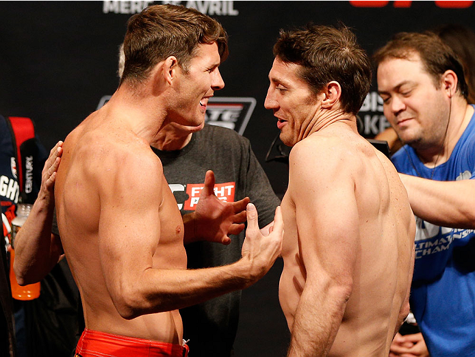QUEBEC CITY, CANADA - APRIL 15:  (L-R) Opponents Michael Bisping and Tim Kennedy face off during the TUF Nations Finale weigh-in at Colisee Pepsi on April 15, 2014 in Quebec City, Quebec, Canada. (Photo by Josh Hedges/Zuffa LLC/Zuffa LLC via Getty Images)