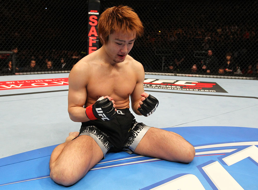 SAITAMA, JAPAN - FEBRUARY 26:  Takanori Gomi reacts after defeating Eiji Mitsuoka by TKO during the UFC 144 event at Saitama Super Arena on February 26, 2012 in Saitama, Japan.  (Photo by Al Bello/Zuffa LLC/Zuffa LLC via Getty Images) *** Local Caption *** Takanori Gomi