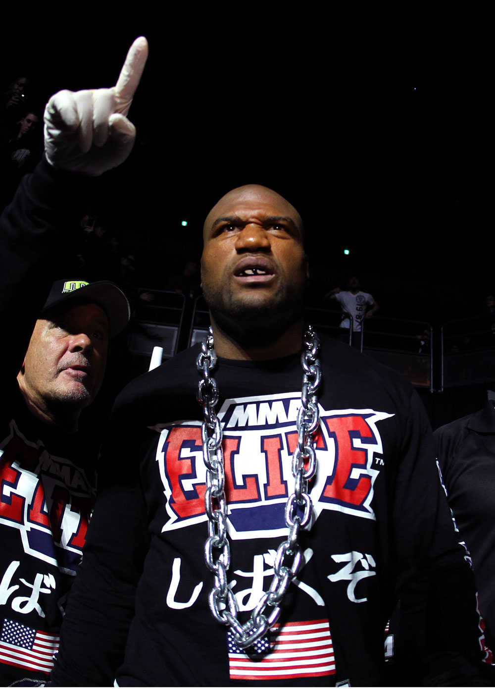 "SAITAMA, JAPAN - FEBRUARY 26:  Quinton ""Rampage"" Jackson enters the arena before his bout against Ryan Bader during the UFC 144 event at Saitama Super Arena on February 26, 2012 in Saitama, Japan.  (Photo by Al Bello/Zuffa LLC/Zuffa LLC via Getty Images) *** Local Caption *** Quinton Jackson"