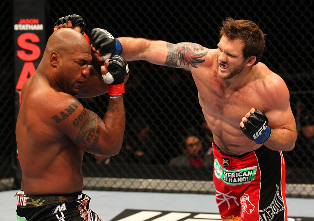 "SAITAMA, JAPAN - FEBRUARY 26:  (R-L) Ryan Bader punches Quinton ""Rampage"" Jackson during the UFC 144 event at Saitama Super Arena on February 26, 2012 in Saitama, Japan.  (Photo by Al Bello/Zuffa LLC/Zuffa LLC via Getty Images) *** Local Caption *** Quinton Jackson; Ryan Bader"