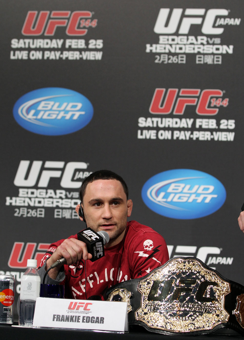 TOKYO, JAPAN - FEBRUARY 23:  UFC Lightweight Champion Frankie Edgar attends the final UFC 144 pre-fight press conference at the Ritz-Carlton Hotel on February 23, 2012 in Tokyo, Japan.  (Photo by Josh Hedges/Zuffa LLC/Zuffa LLC via Getty Images) *** Local Caption *** Frankie Edgar