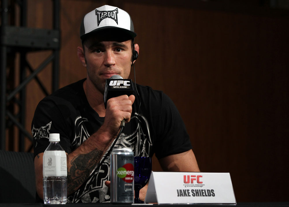 TOKYO, JAPAN - FEBRUARY 23:  Jake Shields attends the final UFC 144 pre-fight press conference at the Ritz-Carlton Hotel on February 23, 2012 in Tokyo, Japan.  (Photo by Josh Hedges/Zuffa LLC/Zuffa LLC via Getty Images) *** Local Caption *** Jake Shields