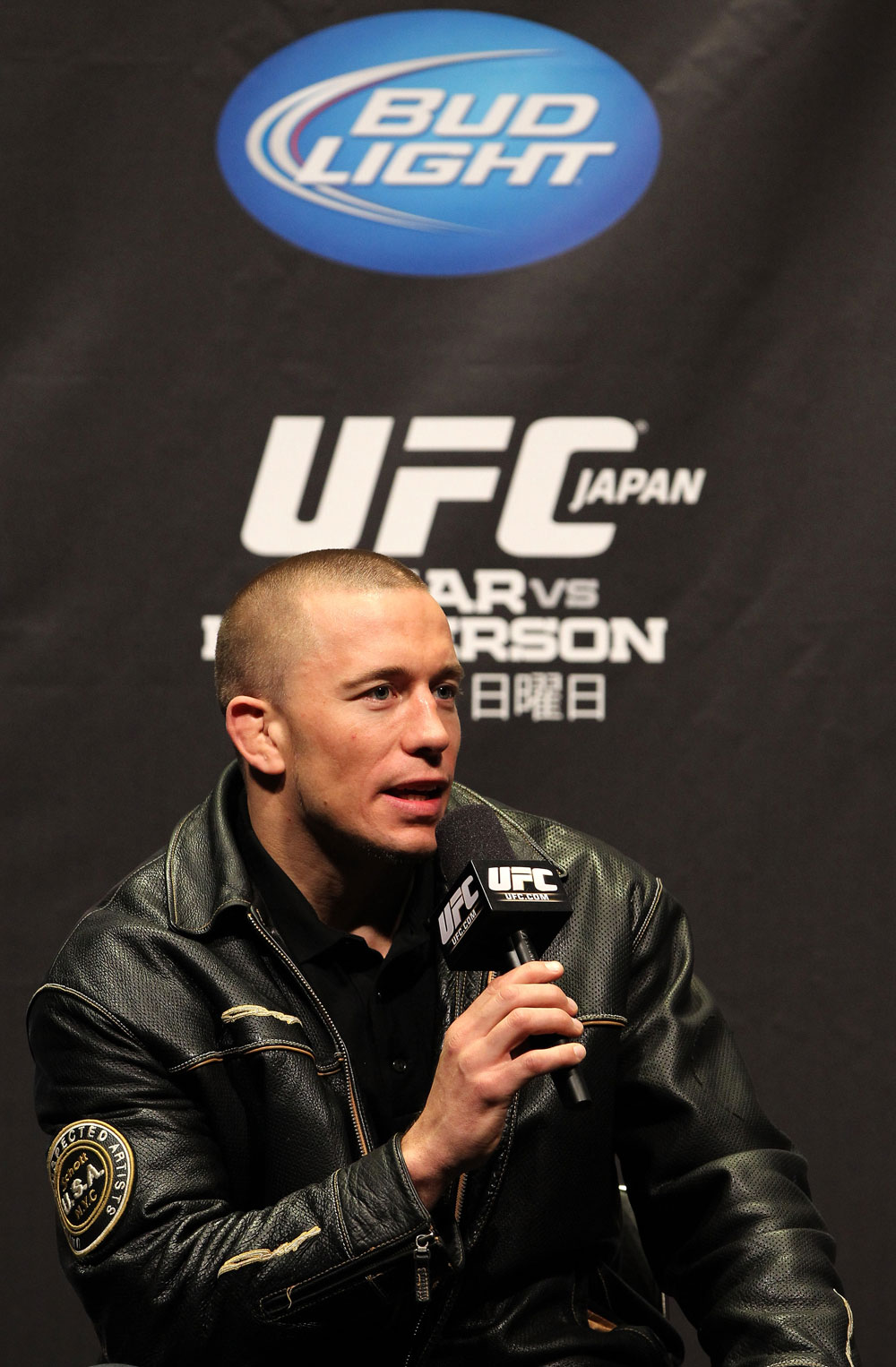 SAITAMA, JAPAN - FEBRUARY 25:  UFC Welterweight Champion Georges St-Pierre takes part in a Q&amp;A session before the official UFC 144 weigh in at the Saitama Super Arena on February 25, 2012 in Saitama, Japan.  (Photo by Josh Hedges/Zuffa LLC/Zuffa LLC via Getty Images) *** Local Caption *** Georges St-Pierre