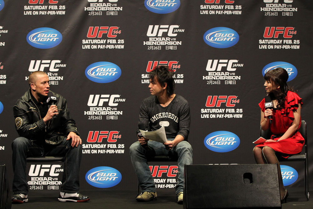 SAITAMA, JAPAN - FEBRUARY 25:  UFC Welterweight Champion Georges St-Pierre (L) takes part in a Q&A session before the official UFC 144 weigh in at the Saitama Super Arena on February 25, 2012 in Saitama, Japan.  (Photo by Josh Hedges/Zuffa LLC/Zuffa LLC via Getty Images) *** Local Caption *** Georges St-Pierre