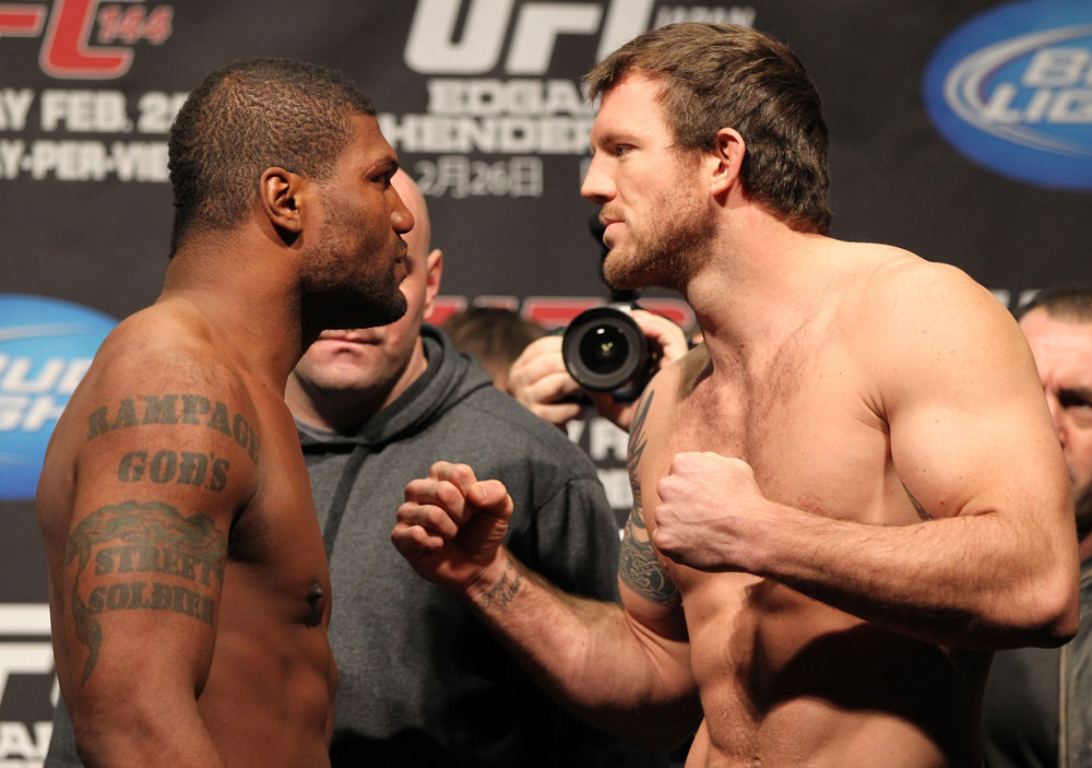 "SAITAMA, JAPAN - FEBRUARY 25:  (L-R) Light Heavyweight opponents Quinton ""Rampage"" Jackson and Ryan Bader face off after weighing in during the official UFC 144 weigh in at the Saitama Super Arena on February 25, 2012 in Saitama, Japan.  (Photo by Josh Hedges/Zuffa LLC/Zuffa LLC via Getty Images) *** Local Caption *** Quinton Jackson; Ryan Bader"