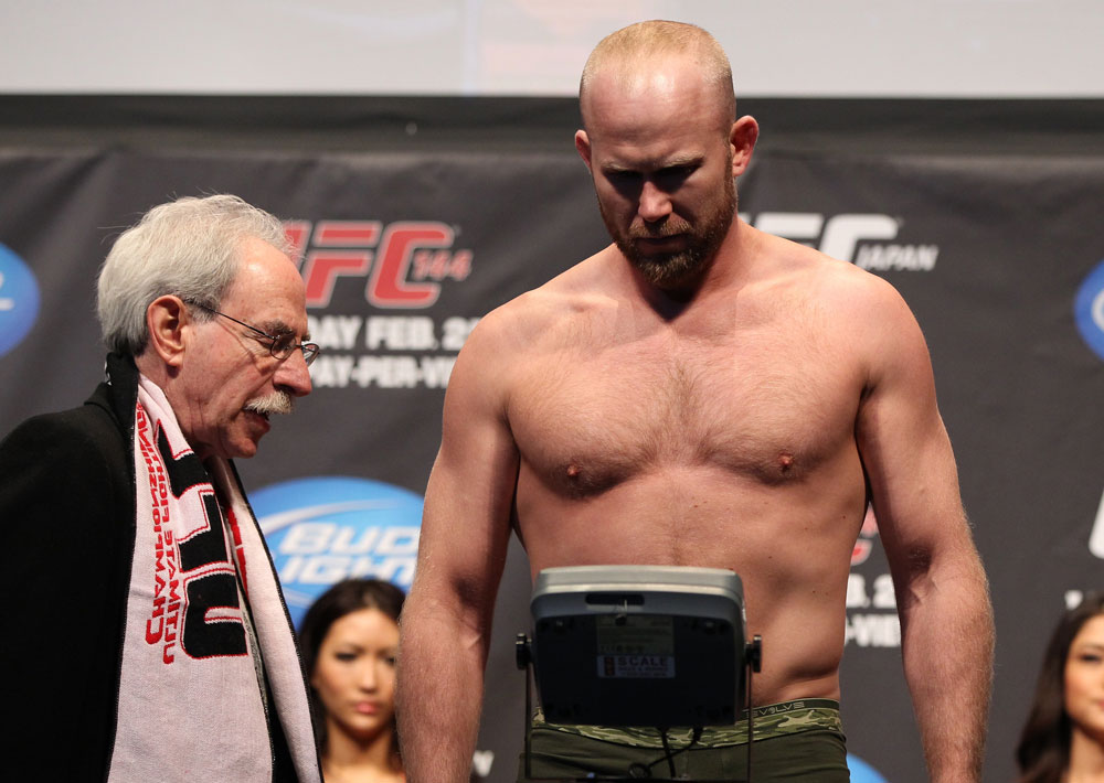 SAITAMA, JAPAN - FEBRUARY 25:  Tim Boetsch weighs in during the official UFC 144 weigh in at the Saitama Super Arena on February 25, 2012 in Saitama, Japan.  (Photo by Josh Hedges/Zuffa LLC/Zuffa LLC via Getty Images) *** Local Caption *** Tim Boetsch