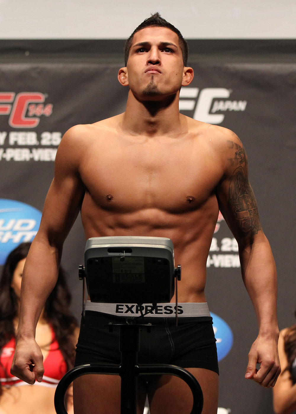 SAITAMA, JAPAN - FEBRUARY 25:  Anthony Pettis weighs in during the official UFC 144 weigh in at the Saitama Super Arena on February 25, 2012 in Saitama, Japan.  (Photo by Josh Hedges/Zuffa LLC/Zuffa LLC via Getty Images) *** Local Caption *** Anthony Pettis