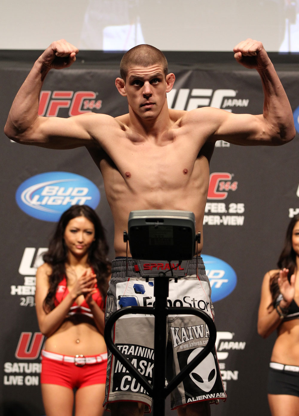 SAITAMA, JAPAN - FEBRUARY 25:  Joe Lauzon weighs in during the official UFC 144 weigh in at the Saitama Super Arena on February 25, 2012 in Saitama, Japan.  (Photo by Josh Hedges/Zuffa LLC/Zuffa LLC via Getty Images) *** Local Caption *** Joe Lauzon