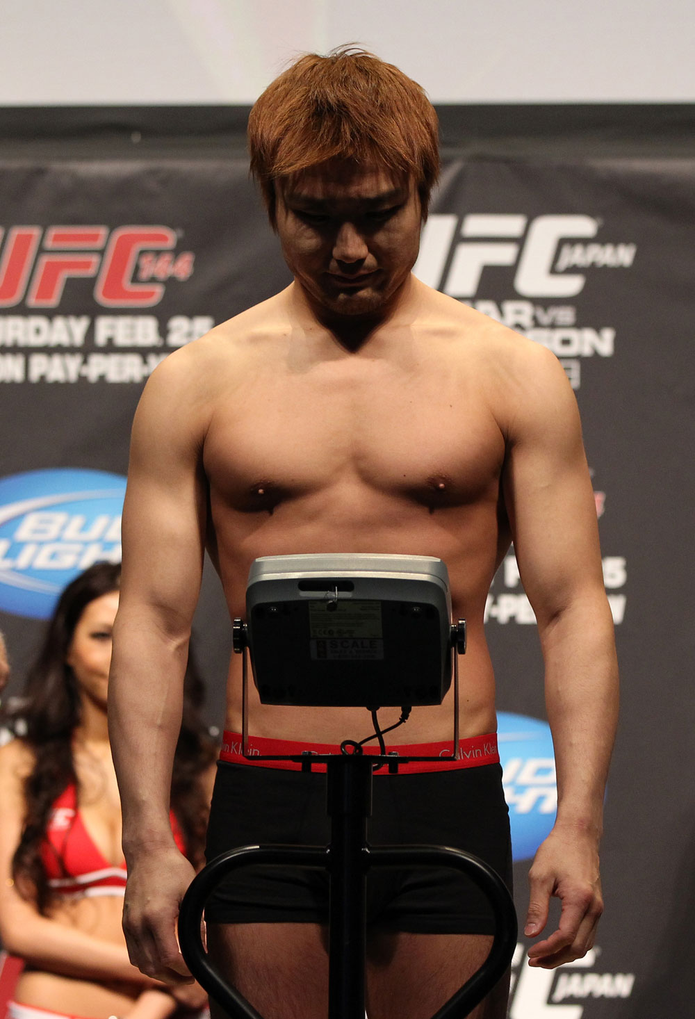 SAITAMA, JAPAN - FEBRUARY 25:  Takanori Gomi weighs in during the official UFC 144 weigh in at the Saitama Super Arena on February 25, 2012 in Saitama, Japan.  (Photo by Josh Hedges/Zuffa LLC/Zuffa LLC via Getty Images) *** Local Caption *** Takanori Gomi