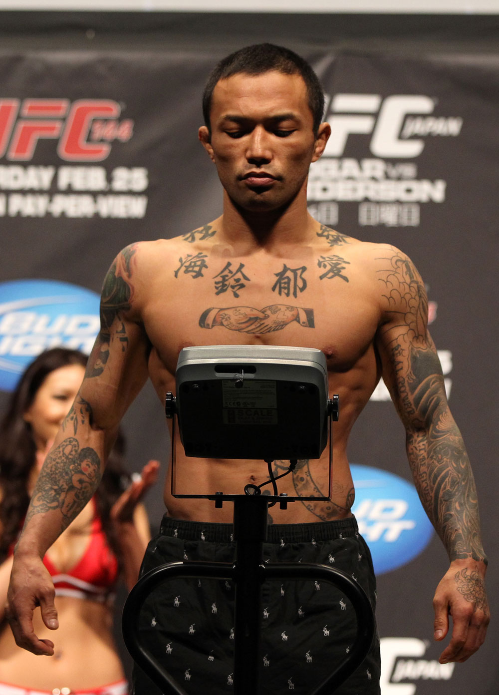 "SAITAMA, JAPAN - FEBRUARY 25:  Norifumi ""Kid"" Yamamoto weighs in during the official UFC 144 weigh in at the Saitama Super Arena on February 25, 2012 in Saitama, Japan.  (Photo by Josh Hedges/Zuffa LLC/Zuffa LLC via Getty Images) *** Local Caption *** Norifumi Yamamoto"