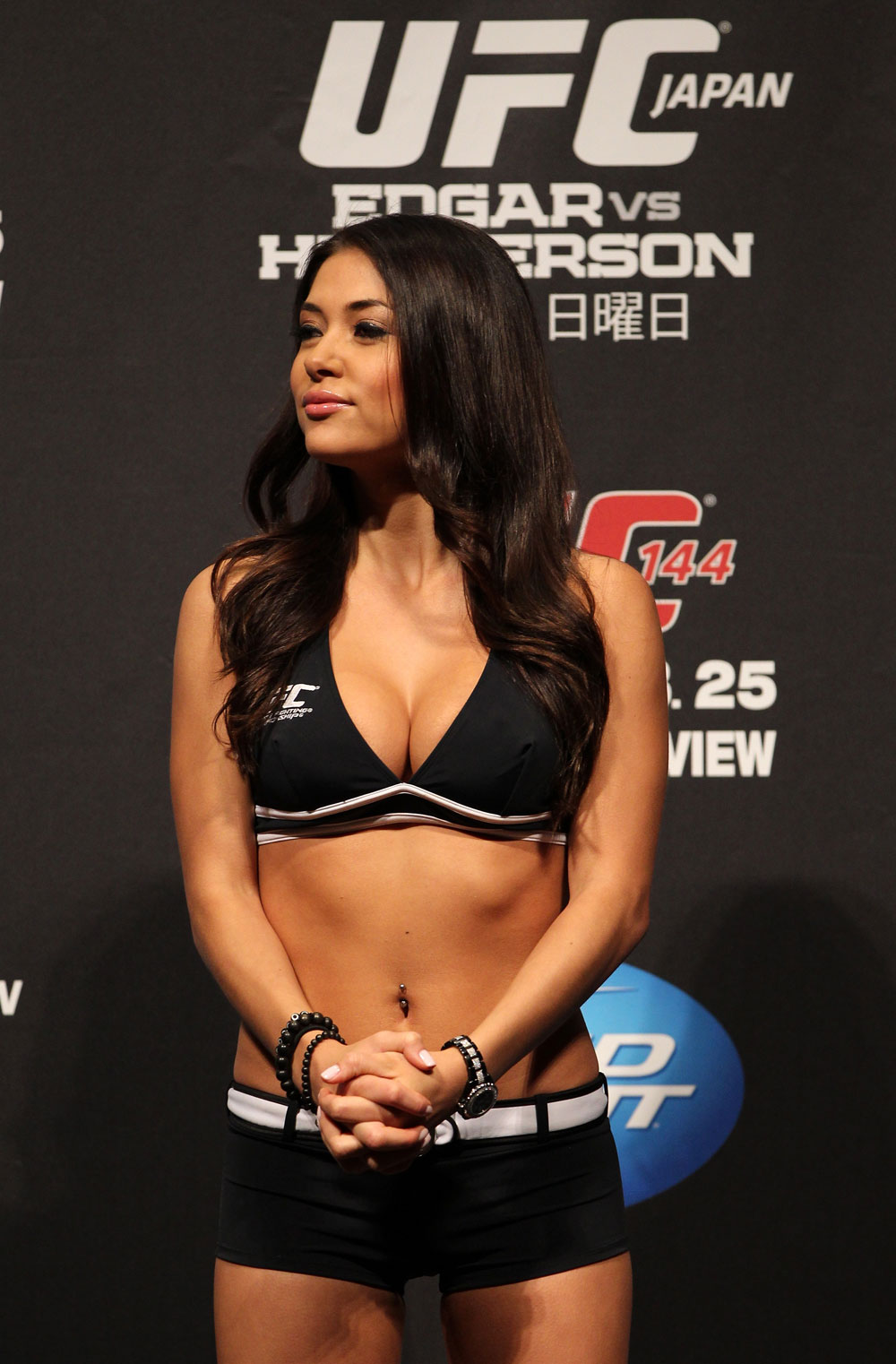 SAITAMA, JAPAN - FEBRUARY 25:  UFC Octagon Girl Arianny Celeste attends the official UFC 144 weigh in at the Saitama Super Arena on February 25, 2012 in Saitama, Japan.  (Photo by Josh Hedges/Zuffa LLC/Zuffa LLC via Getty Images) *** Local Caption *** Arianny Celeste