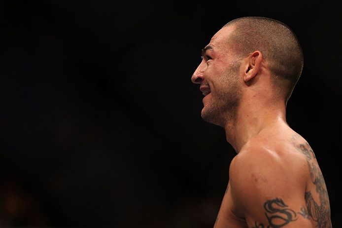 TORONTO, CANADA - SEPTEMBER 22: Cub Swanson reacts after knocking out Charles Oliveira during their featherweight bout at UFC 152 inside Air Canada Centre on September 22, 2012 in Toronto, Ontario, Canada. (Photo by Josh Hedges/Zuffa LLC/Zuffa LLC via Getty Images)