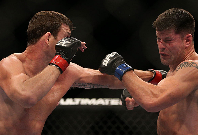 TORONTO, CANADA - SEPTEMBER 22: (L-R) Michael Bisping punches Brian Stann during their middleweight bout at UFC 152 inside Air Canada Centre on September 22, 2012 in Toronto, Ontario, Canada. (Photo by Josh Hedges/Zuffa LLC/Zuffa LLC via Getty Images)