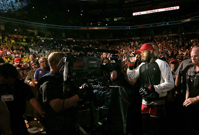 TORONTO, CANADA - SEPTEMBER 22: Jon &#39;&#39;Bones&#39;&#39; Jones enters the arena before his light heavyweight championship bout against Vitor Belfort at UFC 152 inside Air Canada Centre on September 22, 2012 in Toronto, Ontario, Canada. (Photo by Josh Hedges/Zuffa LLC/Zuffa LLC via Getty Images)