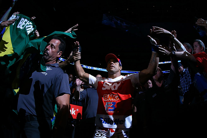 TORONTO, CANADA - SEPTEMBER 22: Vitor Belfort enters the arena before his light heavyweight championship bout against Jon &#39;&#39;Bones&#39;&#39; Jones at UFC 152 inside Air Canada Centre on September 22, 2012 in Toronto, Ontario, Canada. (Photo by Al Bello/Zuffa LLC/Zuffa LLC via Getty Images)