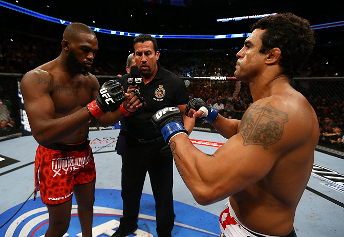 TORONTO, CANADA - SEPTEMBER 22: Opponents Jon Jones (L) and Vitor Belfort touch gloves before their light heavyweight championship bout at UFC 152 inside Air Canada Centre on September 22, 2012. (Photo by Al Bello/Zuffa LLC/Zuffa LLC via Getty Images)