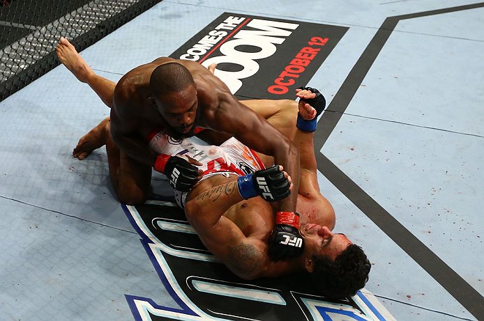 TORONTO, CANADA - SEPTEMBER 22: (L-R) Jon Jones punches Vitor Belfort during their light heavyweight championship bout at UFC 152 inside Air Canada Centre on September 22, 2012 in Toronto, Ontario, Canada. (Photo by Al Bello/Zuffa LLC/Zuffa LLC via Getty Images)