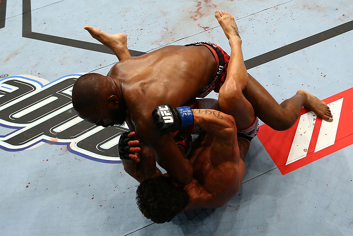 TORONTO, CANADA - SEPTEMBER 22: Jon &#39;&#39;Bones&#39;&#39; Jones (top) delivers an elbow against Vitor Belfort during their light heavyweight championship bout at UFC 152 inside Air Canada Centre on September 22, 2012 in Toronto, Ontario, Canada. (Photo by Al Bello/Zuffa LLC/Zuffa LLC via Getty Images)