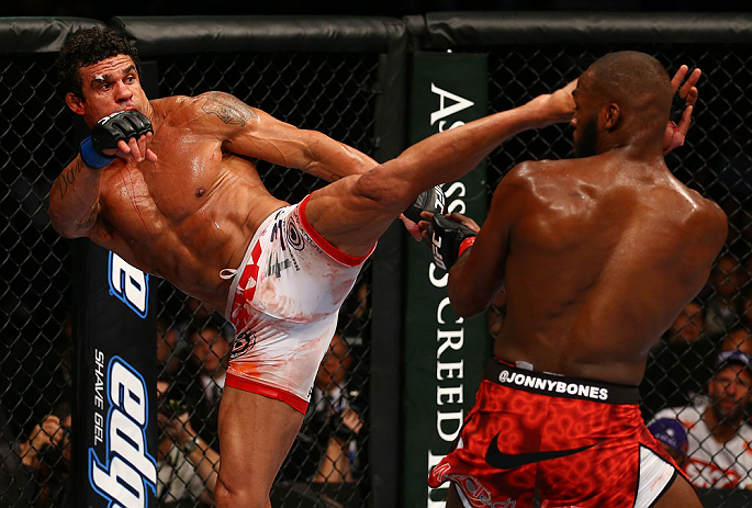 TORONTO, CANADA - SEPTEMBER 22: (L-R) Vitor Belfort kicks Jon &#39;&#39;Bones&#39;&#39; Jones during their light heavyweight championship bout at UFC 152 inside Air Canada Centre on September 22, 2012 in Toronto, Ontario, Canada. (Photo by Al Bello/Zuffa LLC/Zuffa LLC via Getty Images)