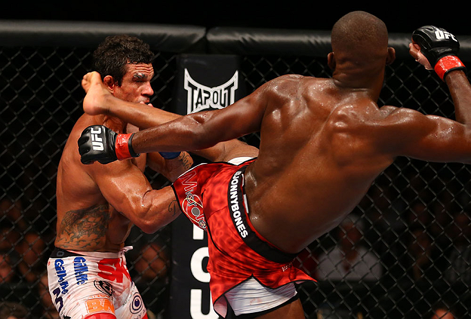 TORONTO, CANADA - SEPTEMBER 22: (R-L) Jon Jones kicks Vitor Belfort during their light heavyweight championship bout at UFC 152 inside Air Canada Centre on September 22, 2012 in Toronto, Ontario, Canada. (Photo by Al Bello/Zuffa LLC/Zuffa LLC via Getty Images)