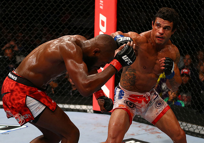 TORONTO, CANADA - SEPTEMBER 22: (R-L) Vitor Belfort punches Jon &#39;&#39;Bones&#39;&#39; Jones during their light heavyweight championship bout at UFC 152 inside Air Canada Centre on September 22, 2012 in Toronto, Ontario, Canada. (Photo by Al Bello/Zuffa LLC/Zuffa LLC via Getty Images)