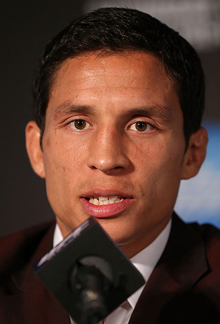 TORONTO, CANADA - SEPTEMBER 20: Joseph Benavidez interacts with media during the UFC 152 pre-fight press conference at Real Sports Bar and Grill on September 20, 2012 in Toronto, Ontario, Canada. (Photo by Josh Hedges/Zuffa LLC/Zuffa LLC via Getty Images)