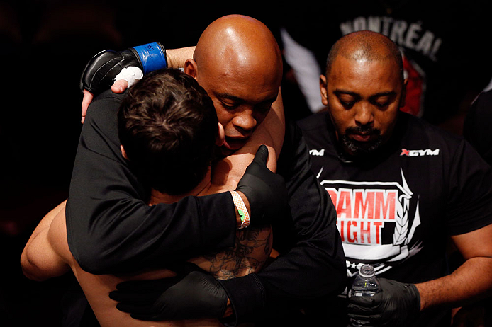 MONTREAL, QC - NOVEMBER 17:  Anderson da Silva hugs Rodrigo Damm (L) before his fight against Antonio Carvalho in their featherweight bout during UFC 154 on November 17, 2012  at the Bell Centre in Montreal, Canada.  (Photo by Josh Hedges/Zuffa LLC/Zuffa LLC via Getty Images)