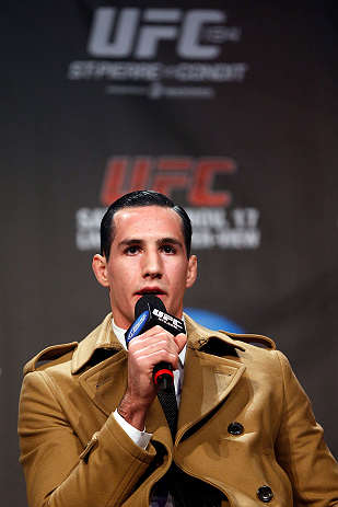 MONTREAL, CANADA - NOVEMBER 16: Rory MacDonald interacts with fans during a Q&A session before the official UFC 154 weigh in at New City Gas on November 16, 2012 in Montreal, Quebec, Canada. (Photo by Josh Hedges/Zuffa LLC/Zuffa LLC via Getty Images)