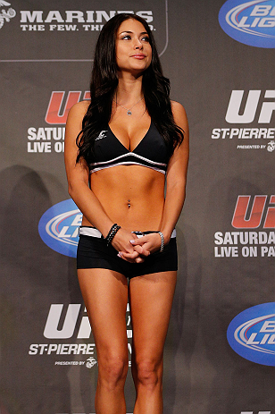 MONTREAL, CANADA - NOVEMBER 16:  UFC Octagon Girl Arianny Celeste stands on stage during the official UFC 154 weigh in at New City Gas on November 16, 2012 in Montreal, Quebec, Canada.  (Photo by Josh Hedges/Zuffa LLC/Zuffa LLC via Getty Images)