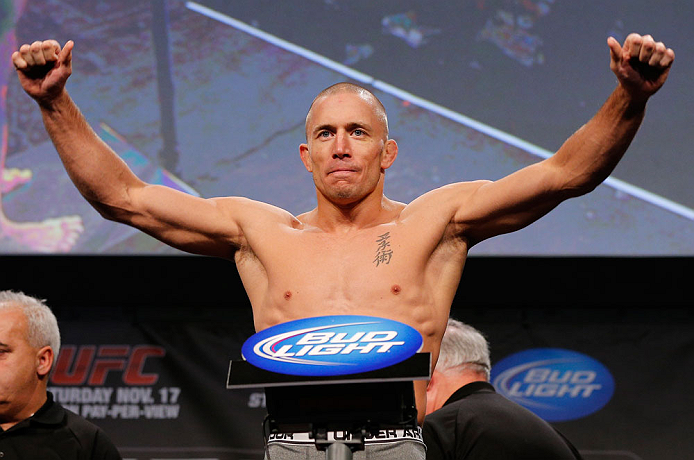 MONTREAL, CANADA - NOVEMBER 16: Georges St-Pierre weighs in during the official UFC 154 weigh in at New City Gas on November 16, 2012 in Montreal, Quebec, Canada. (Photo by Josh Hedges/Zuffa LLC/Zuffa LLC via Getty Images)