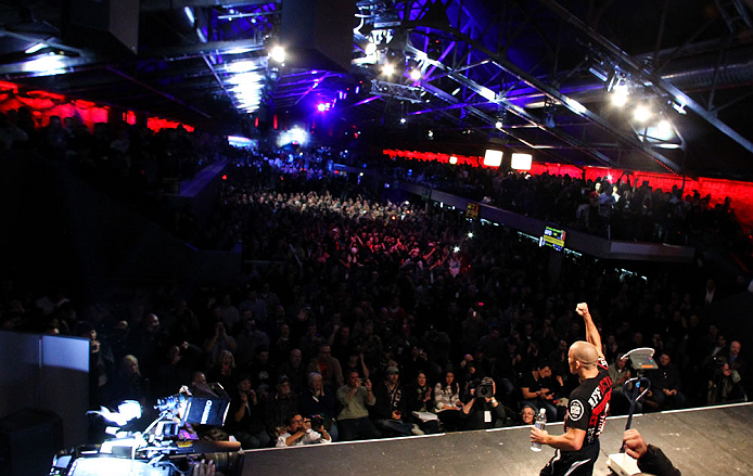 MONTREAL, CANADA - NOVEMBER 16: Georges St-Pierre salutes the crowd after weighing in during the official UFC 154 weigh in at New City Gas on November 16, 2012 in Montreal, Quebec, Canada. (Photo by Josh Hedges/Zuffa LLC/Zuffa LLC via Getty Images)
