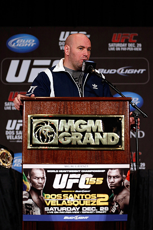 LAS VEGAS, NV - DECEMBER 27:  UFC President Dana White during the final UFC 155 pre-fight press conference on December 27, 2012 at MGM Grand in Las Vegas, Nevada. (Photo by Josh Hedges/Zuffa LLC/Zuffa LLC via Getty Images)