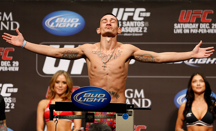 LAS VEGAS, NV - DECEMBER 28:  Max Holloway weighs in during the UFC 155 weigh-in on December 28, 2012 at MGM Grand Garden Arena in Las Vegas, Nevada. (Photo by Josh Hedges/Zuffa LLC/Zuffa LLC via Getty Images)