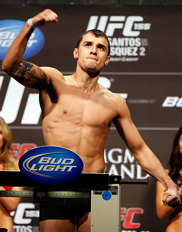 LAS VEGAS, NV - DECEMBER 28:  Myles Jury weighs in during the UFC 155 weigh-in on December 28, 2012 at MGM Grand Garden Arena in Las Vegas, Nevada. (Photo by Josh Hedges/Zuffa LLC/Zuffa LLC via Getty Images)