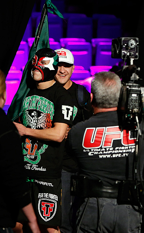 LAS VEGAS, NV - DECEMBER 28:  Erik Perez enters the arena during the UFC 155 weigh-in on December 28, 2012 at MGM Grand Garden Arena in Las Vegas, Nevada. (Photo by Josh Hedges/Zuffa LLC/Zuffa LLC via Getty Images)