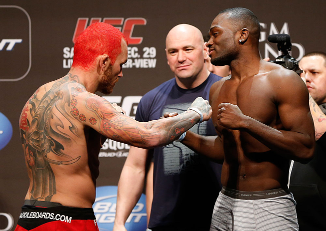 LAS VEGAS, NV - DECEMBER 28:  (L-R) Opponents Chris Leben and Derek Brunson face off during the UFC 155 weigh-in on December 28, 2012 at MGM Grand Garden Arena in Las Vegas, Nevada. (Photo by Josh Hedges/Zuffa LLC/Zuffa LLC via Getty Images)