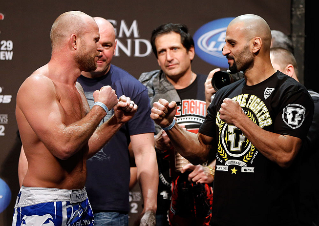 LAS VEGAS, NV - DECEMBER 28:  (L-R) Opponents Tim Boetsch and Constantinos Philippou face off during the UFC 155 weigh-in on December 28, 2012 at MGM Grand Garden Arena in Las Vegas, Nevada. (Photo by Josh Hedges/Zuffa LLC/Zuffa LLC via Getty Images)