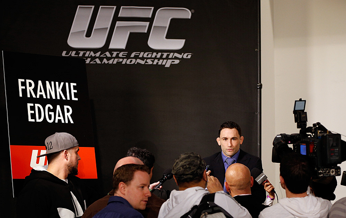 LAS VEGAS, NV - JANUARY 31:  Frankie Edgar interacts with media during the UFC 156 Ultimate Media Day on January 31, 2013 at the Mandalay Bay in Las Vegas, Nevada.  (Photo by Josh Hedges/Zuffa LLC/Zuffa LLC via Getty Images)
