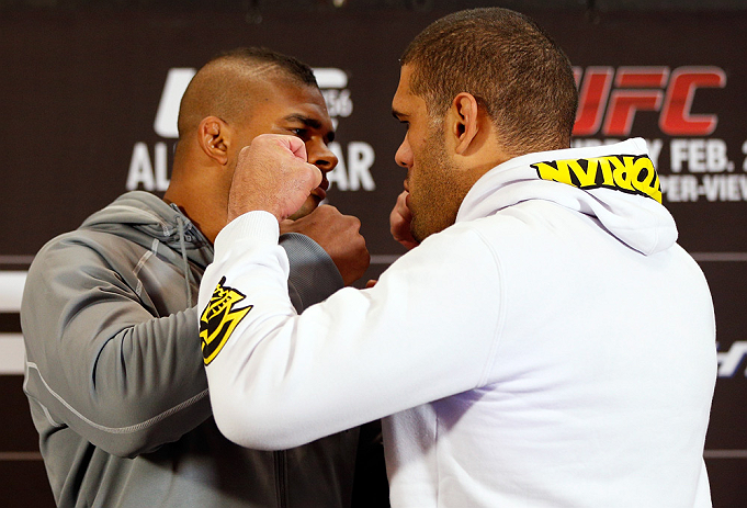 LAS VEGAS, NV - JANUARY 31:  (L-R) Opponents Alistair Overeem and Antonio &quot;Bigfoot&quot; Silva face off during the UFC 156 Ultimate Media Day on January 31, 2013 at the Mandalay Bay in Las Vegas, Nevada.  (Photo by Josh Hedges/Zuffa LLC/Zuffa LLC via Getty Images)