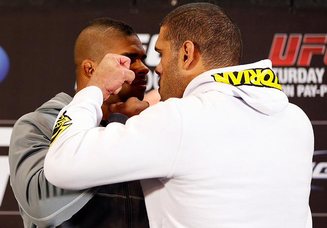"LAS VEGAS, NV - JANUARY 31:  (L-R) Opponents Alistair Overeem and Antonio ""Bigfoot"" Silva face off during the UFC 156 Ultimate Media Day on January 31, 2013 at the Mandalay Bay in Las Vegas, Nevada.  (Photo by Josh Hedges/Zuffa LLC/Zuffa LLC via Getty Images)"