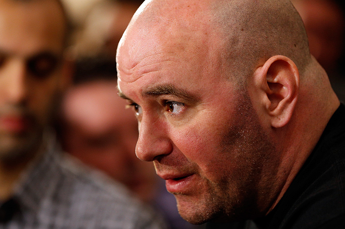 LAS VEGAS, NV - JANUARY 31:  UFC president Dana White interacts with media during the UFC 156 Ultimate Media Day on January 31, 2013 at the Mandalay Bay in Las Vegas, Nevada.  (Photo by Josh Hedges/Zuffa LLC/Zuffa LLC via Getty Images)