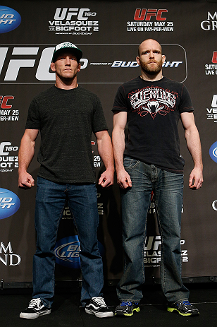 LAS VEGAS, NV - MAY 23:   (L-R) Opponents Gray Maynard and T.J. Grant pose for photos during the UFC 160 Ultimate Media Day at the MGM Grand Hotel/Casino on May 23, 2013 in Las Vegas, Nevada.  (Photo by Josh Hedges/Zuffa LLC/Zuffa LLC via Getty Images)