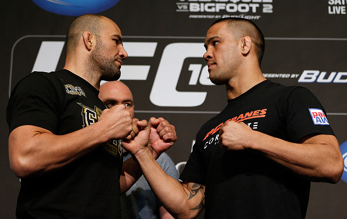 LAS VEGAS, NV - MAY 23:   (L-R) Opponents Glover Teixeira and James Te-Huna face off during the UFC 160 Ultimate Media Day at the MGM Grand Hotel/Casino on May 23, 2013 in Las Vegas, Nevada.  (Photo by Josh Hedges/Zuffa LLC/Zuffa LLC via Getty Images)