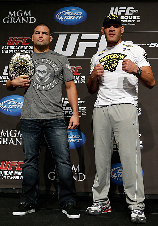 "LAS VEGAS, NV - MAY 23:   (L-R) Opponents Cain Velasquez and Antonio ""Bigfoot"" Silva pose for photos during the UFC 160 Ultimate Media Day at the MGM Grand Hotel/Casino on May 23, 2013 in Las Vegas, Nevada.  (Photo by Josh Hedges/Zuffa LLC/Zuffa LLC via Getty Images)"