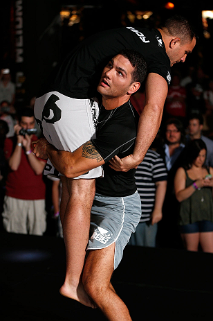 LAS VEGAS, NV - JULY 03:  Chris Weidman holds an open training session for media and fans inside XS The Nightclub at Encore Las Vegas on July 3, 2013 in Las Vegas, Nevada.  (Photo by Josh Hedges/Zuffa LLC/Zuffa LLC via Getty Images)