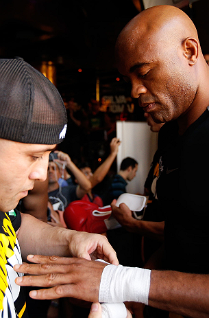 LAS VEGAS, NV - JULY 03:  Anderson Silva holds an open training session for media and fans inside XS The Nightclub at Encore Las Vegas on July 3, 2013 in Las Vegas, Nevada.  (Photo by Josh Hedges/Zuffa LLC/Zuffa LLC via Getty Images)