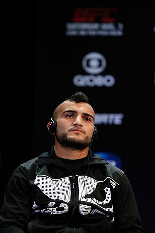RIO DE JANEIRO, BRAZIL - AUGUST 01:  John Lineker interacts with fans and media during a pre-fight press conference at Circo Voador on August 1, 2013 in Rio de Janeiro, Brazil. (Photo by Josh Hedges/Zuffa LLC/Zuffa LLC via Getty Images)