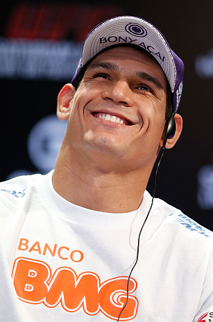 "RIO DE JANEIRO, BRAZIL - AUGUST 01:  Cezar ""Mutante"" Ferreira interacts with fans and media during a pre-fight press conference at Circo Voador on August 1, 2013 in Rio de Janeiro, Brazil. (Photo by Josh Hedges/Zuffa LLC/Zuffa LLC via Getty Images)"