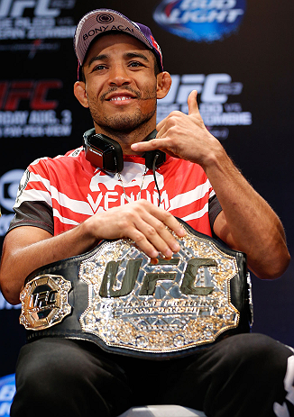 RIO DE JANEIRO, BRAZIL - AUGUST 01:  UFC featherweight champion Jose Aldo interacts with fans and media during a pre-fight press conference at Circo Voador on August 1, 2013 in Rio de Janeiro, Brazil. (Photo by Josh Hedges/Zuffa LLC/Zuffa LLC via Getty Images)