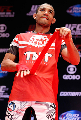 RIO DE JANEIRO, BRAZIL - AUGUST 01:  UFC featherweight champion Jose Aldo holds an open training session for fans and media at Circo Voador on August 1, 2013 in Rio de Janeiro, Brazil. (Photo by Josh Hedges/Zuffa LLC/Zuffa LLC via Getty Images)